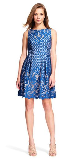 Adrianna Papell Illusion Lace Fit and Flare Dress @adriannapapell