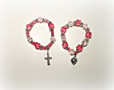 Beaded Bracelet Set with Pink and Clear Beads and by StaceysShoppe, $10.00