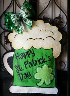 St. Patrick's Day Beer Mug Burlap Door Hanger Decoration