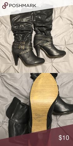Very Volatile black high heel boots! Fun black high heel boots! Great for a night out! Like new condition. Only worn once. Comes from a smoke free home. Very Volatile Shoes Heeled Boots