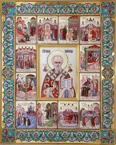 Святой Николай Чудотворец с житием, икона николая чудотворца, икона Николая,икона святой Николай, икона святителя Николая, серебряный оклад, серебро, горячие эмали, финифть, филигрань, скань