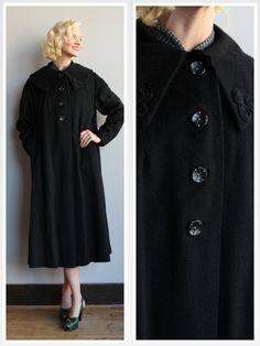 1950s Coat // Black Classic Swing Coat // by dethrosevintage