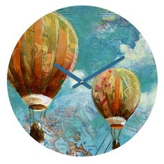 Land Of Lulu Two Balloons Round Clock | DENY Designs Home Accessories