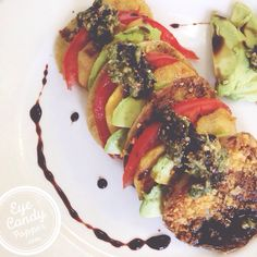 10 min fried green tomatoes -- Napoleon style with glazed balsamic dressing (gluten-free, vegan)