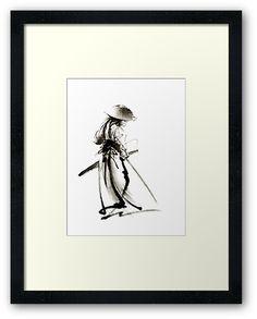Samurai Ronin Japan art samurai sword armor samurai mask katana sword samurai avatar japan poster japan wall decor japan poster japan print costume samurai clothing samurai decall samurai avatar / A photo of original ink painting artwork by Mariusz Szmerdt • Also buy this artwork on wall prints, home decor, stationery, and more.
