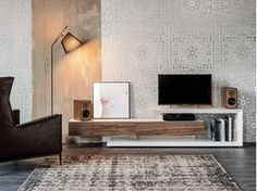 Low walnut TV cabinet LINK - Cattelan Italia