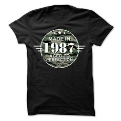 MADE IN 1987 AGED TO PERFECTION ARMY DESIGN T Shirt, Hoodie, Sweatshirt