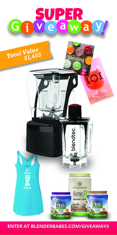 Super Giveaway! Featuring a Blendtec Pro 800 blender, Sunwarrior Organic Protein, Blending Cookbooks and a Blender Babes T-shirt of your choice! $1455 Value!