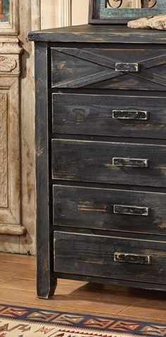 Rustic Reclaimed Barnwood Drawers: Made from solid, reclaimed barnwood in a hand-distressed black finish. Rustic Bedroom Furniture, Rustic Bedding, Western Furniture, Shabby Chic Furniture, Shabby Chic Lamps, Bedroom Drawers, Ranch Decor, Kitchens And Bedrooms, Southwestern Decorating