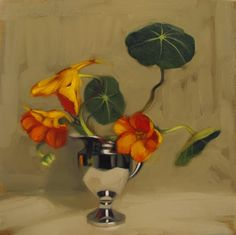 """Survivors""  Oil on wood, 8"" x 8,"" $195.  Maybe my favorite flower to paint, the wild and delicate nasturtiums...  Diane Hoeptner"