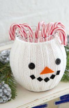 Snowman Jar Cozy Free Knitting Pattern from Red Heart Yarns