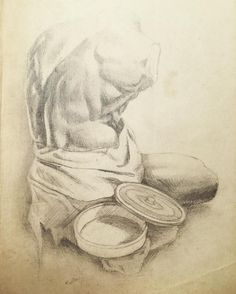 Pencil Study From Collage 100 Year Old Paper Give Or Take A Few Decades