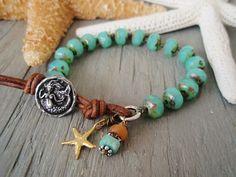 Mermaid knotted bracelet - SeaStar Mermaid- seafoam blue green leather sterling gold vermeil starfish artisan summer beach boho