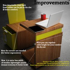 0,2 m3 - Mobile office for coworking. Chair contains drawer/safe to hold your stuff, and back folds down to fit under table. It can be stored on a shelf when not in use, since it only takes up 0.2 cubic meters (about 7 cubic feet).