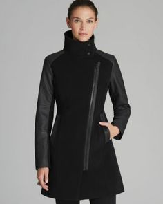 Marc New York Coat - Textured with Faux Leather  Bloomingdale's