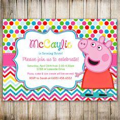 Peppa Pig Birthday Rainbow Invitation Chevron by Polka Dot Birthday, Pig Birthday, 3rd Birthday Parties, Fiestas Peppa Pig, Cumple Peppa Pig, Rainbow Invitations, 2nd Birthday Invitations, Pig Party, Birthday Numbers