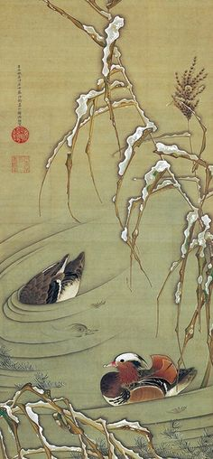 ".:. Itō Jakuchū, ""Reeds and mandarin ducks in the snow"".The Etsuko and Joe Price Collection."