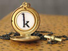 hand embroidered custom monogram locket necklace, silk on antique linen  @Stella Saves the Day $88