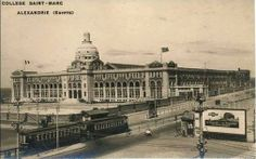 Alexandria - St Mark's School and tram station Shatby in the thirties of the last century.