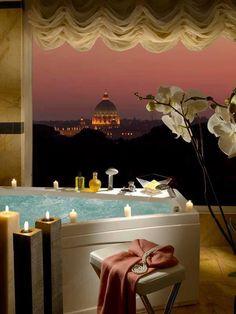 Luxe, romantic bathroom at Parco dei Principi Hotel, Rome.