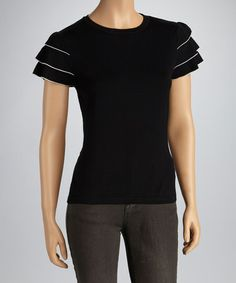 Take a look at this Black Ruffle Short-Sleeve Sweater - Women by Nancy Yang on #zulily today! $20 !!
