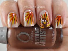 Thanksgiving Nail Art Challenge Day 5 - Turkey Nails!! Gobble Gobble!!  So cute!