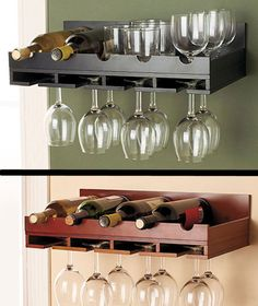 Wooden+Wine+Rack+IN+STOCK+Wall+Mount+Hanging+Glass+Holder+Holds+5+Bottles+
