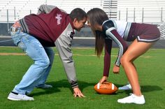 Classic Football and Cheerleader Shot thats cute but im not a cheerleader. more like me in his jersey<3