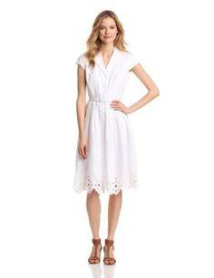 Click pic to buy - Jones New York Womens Solid Shirt Dress, White, 16