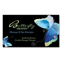 Blue Butterfly Massage Therapy Appointment Cards Business Card. This great business card design is available for customization. All text style, colors, sizes can be modified to fit your needs. Just click the image to learn more!