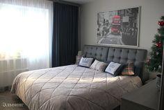 Покрывало на кровать тоже заказали у Оксаны, потому что кровать большая, и найти готовое покрывало нужного размера не получилось. Выбрали бархатистую ткань сложно-передаваемого цвета. Основу для валиков тоже Оксана привезла, а я уже обшила их остатками шторной ткани.