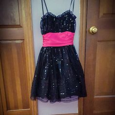 Strapless black/hot pink dress; NWT; Never worn 100% Polyester Dresses Prom