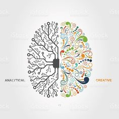 Science Art Brain - left and right brain functions concept, analytical vs creativity Brain Painting, Brain Drawing, Brain Art, Left Brain Right Brain, Brain Tattoo, Brain Illustration, Psy Art, Tim Walker, Anatomy Art