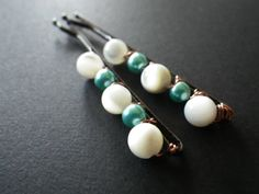 She Sells Sea Shells White Shell Beads Blue Green by CassieVision, $7.50