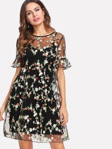 Ruffle Cuff Embroidered Mesh 2 In 1 Dress