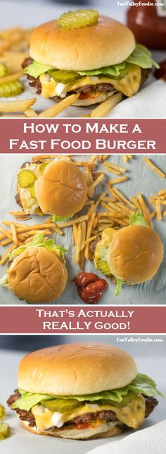 How to Make a Fast Food Burger – That is REALLY Good! – Fox Valley Foodie How to make a fast food burger that actually tastes REALLY good! Burger Recipes, Beef Recipes, Cooking Recipes, Fast Food Burger Recipe, Cooking Ham, Beste Burger, Great Recipes, Favorite Recipes, Good Food