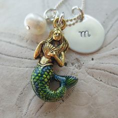 Mermaid Necklace Mermaid Charm Necklace by WanderingTulip