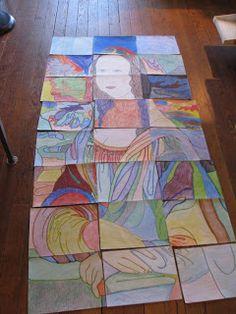 Renessanssi - Da Vinci - Mona Lisa - Mona Lisa jaetaan paloihin (yhtä monta kuin on oppilaitakin), jokainen saa oman palansa. Pala suurennetaan sovittuun kokoon, väritetään ja lopuksi paloista kootaan uusi Mona Lisa.