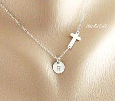 Silver Sideways cross Necklace and Initial charm by hotmixcold, $34.00