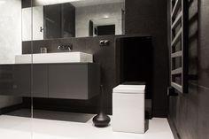 Badezimmer Waschbeckentisch-Schrank weiß-schwarz geradlinig