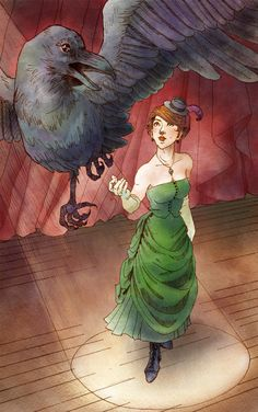 "Print of ""Celia the Illusionist"" original painting illustration. $35.00, via Etsy. From The Night Circus"