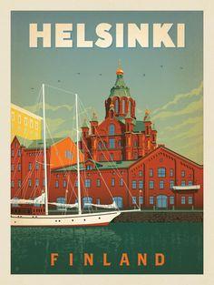 Anderson Design Group – World Travel – Finland: Helsinki Helsinki, Poster Wall, Poster Prints, Tourism Poster, Travel Illustration, Vintage Travel Posters, Vintage Ski, Travel Aesthetic, Web Design