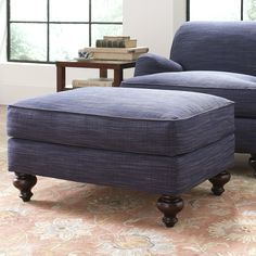 Durham Ottoman | Cozy and classic, the Durham Ottoman brings together rich upholstery and turned legs for a traditional English look.