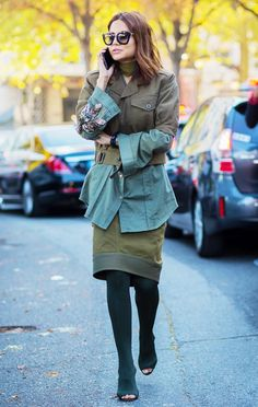 christine centenera green jacket and skirt