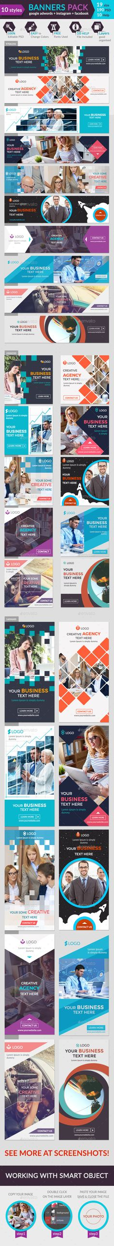 Banners Pack Design Template - Banners & Ads Web Elements Template PSD…