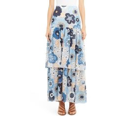 Women's Chloe Floral Print Tiered Maxi Skirt ($2,395) ❤ liked on Polyvore featuring skirts, multicolor blue, multi color maxi skirt, long floral skirts, cotton maxi skirt, maxi skirt and bohemian maxi skirt