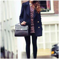 Winter / Autumn Fashion; Navy coat