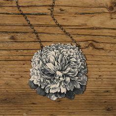 Shrinky Dink done right! Peony Flower Necklace Pendant Shrinky Dink Jewelry. $32.00, via Etsy.
