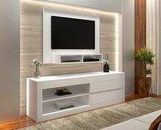 The minimalist TV rack design is the most suitable furniture to decorate the room in your minimalist home as a place to put the TV. Black Floating Shelves, Floating Shelves Bedroom, Room Shelves, Shelf Wall, Tv Rack Design, Shelf Design, Living Room Tv Unit, Living Room Decor, Modern Tv Wall Units