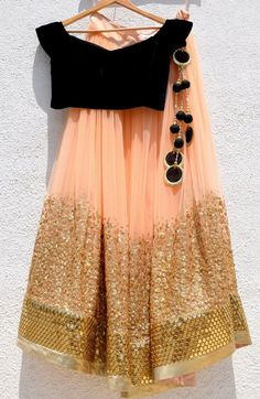 Shop VIVA-LUXE Designer Anisha Shetty's Peach & Gold Lehenga With Black Velvet Blouse with custom made to measure tailoring for a perfect fit & satisfaction guarantee Indian Fashion Dresses, Indian Gowns Dresses, Dress Indian Style, Indian Designer Outfits, Designer Dresses, Eid Dresses, Lehenga Choli Designs, Ghagra Choli, Brocade Lehenga